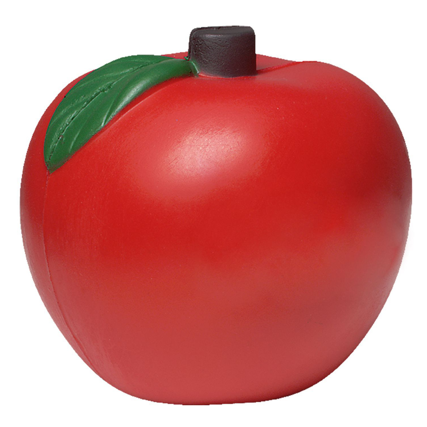 Red Apple Stress Shape With Green Leaves
